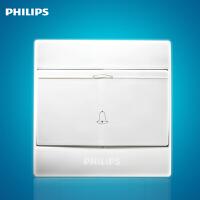 飞利浦墙壁面板开关插座Q4系列261-B一位门铃开关白色