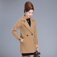 妈妈装毛呢外套中长款中老年女秋冬呢子大衣短款40岁50中年人韩版