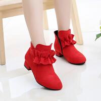 女童高跟皮鞋秋冬学生舞蹈鞋加绒短靴