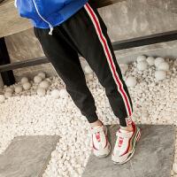 女童裤子新款春季儿童中大童侧边条纹收口休闲运动裤宽松韩版