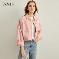【到手价:204元】Amii极简复古港风小个子外套女2019秋新款休闲短款粉色牛仔夹克