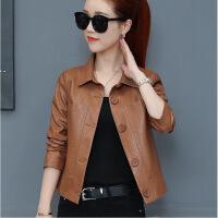 秋季新款韩版时尚长袖短款真皮皮衣女气质修身百搭小外套上衣