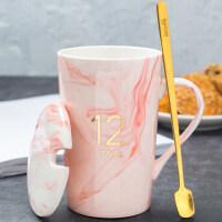 生日礼物陶瓷杯创意个性潮流情侣款水杯子一对男女家用马克杯咖啡杯带盖勺送女友送男友送朋友送女友