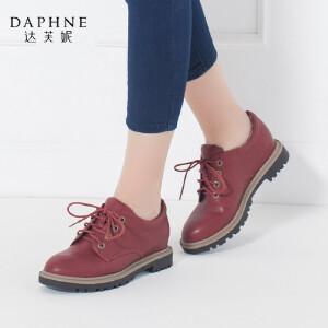 Daphne/达芙妮正品秋季圆头粗跟女单鞋英伦学院风系带休闲鞋