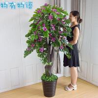 物有物语 仿真树 套装客厅假树花落地客厅发财树摆件塑料绿色树木大型植物盆栽中国风大厅装饰