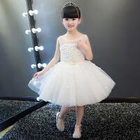 女大童连衣裙 儿童礼服女童装秋冬公主裙花童婚纱蓬蓬裙白色演出服 白色
