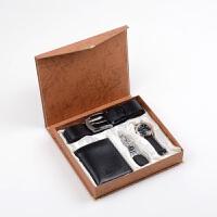 新款 父节送父的礼物 男士商务 4件套礼盒 套装 皮带 手表套装礼盒 黑色