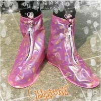 粉色心情防雨中帮平跟鞋套(S码)