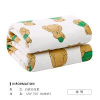浴巾�����布浴巾柔��棉家用吸水���A��布浴巾裹巾 (白底印花款)�G熊 120*150