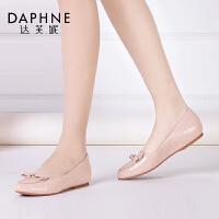 Daphne/达芙妮时尚舒适潮流春款包子鞋甜美蝴蝶结平底单鞋