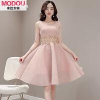 夏季连衣裙女a字型新款学生韩版时尚无袖粉色中长款蓬蓬裙子