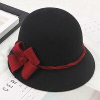 韩版羊毛呢优雅圆顶小檐渔夫帽女气质复古秋冬盆帽优雅花朵小礼帽 M(56-58cm)