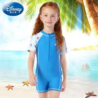 迪士尼女童女宝连体泳衣童装粉色游泳衣公主宝宝儿童防晒女孩泳装