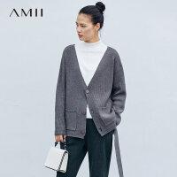 Amii极简时尚飘带毛衣外套韩版女2019春季直筒V领上衣短针织开衫