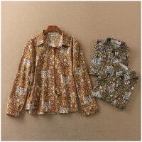 春季宽松POLO领长袖薄款花色单排扣衬衫女24379