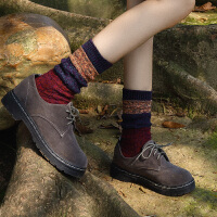 堆堆袜子女秋冬季加厚加绒时尚韩版长筒针织民族风长袜中筒保暖粗毛线