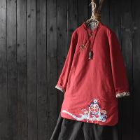 中国风脸谱刺绣棉麻夹棉加厚文艺复古民族风盘扣棉衣袍子外套 均码