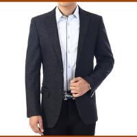 加厚款羊毛呢西服中老年人男西装纯色中年男士休闲西服外套加大码 深灰色 5/84A