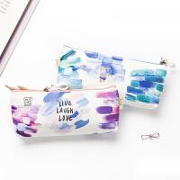 韩国简约小清新笔袋女初中大学生文具袋女生个性可爱彩色大容量笔袋