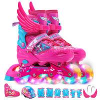 溜冰鞋儿童全套装 8轮全闪光旱冰鞋 可调伸缩轮滑鞋 男女宝宝直排轮 小孩单排轮