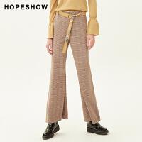 活动到手价120丨红袖格纹宽松裤子高腰垂感阔腿裤