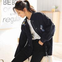 【秒杀价95.9元】唐狮新款外套女学生抽绳短款风衣宽松工装韩版刺绣潮