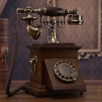 老式民国实木旋转盘电话机仿古复古拨号电话中式古董家用座机