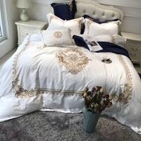 家纺欧式60支刺绣埃及长绒棉贡缎四件套白色宫廷绣花纯棉床上用品