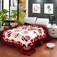 家纺2017秋冬款棉被子毛毯珊瑚绒婚庆双层加厚保暖大红双人双喜结婚盖毯床上用品 200x230cm9斤