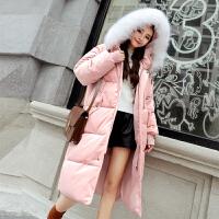 大码胖MM棉衣长款棉袄宽松休闲风加厚羽绒大毛领外套 粉色 XS 80斤-100斤