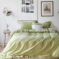 伊迪梦家纺 棉麻纯色四件套 色织亚麻素色时尚简约纽扣款式被套床单枕套4件套双人床MD91