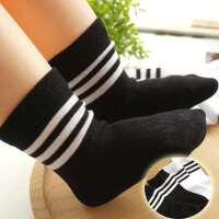 韩版设计黑白条无骨运动风短袜两双装