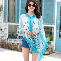 夏季女开衫披肩雪纺衫骑车防晒衣上衣带扣纱巾旅游罩衣百变丝巾遮 湖蓝色 蓝色蝴蝶