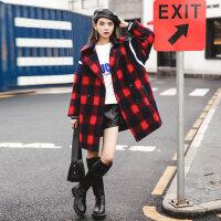 呢子大衣女2017秋冬装新款韩国韩版小个子中长款学生格子毛呢外套