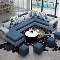 布艺沙发 客厅 整装 家具 大小户型拆洗转角组合简约沙发 银白 蔚蓝