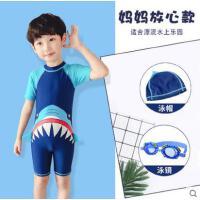 儿童泳衣男童连体中大童可爱宝宝泳裤套装男孩短袖沙滩防晒泳衣