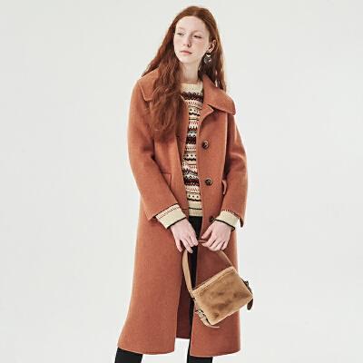 红袖/HOPESHOW单排扣系带中长款双面呢大衣