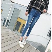 2018春季新款蓝色破洞牛仔裤女紧身显瘦九分时尚弹力小脚铅笔裤潮 蓝色 25