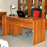 尚满 浅胡桃实木边框系列书房家具 现代中式实木书桌+推柜组合 办公电脑桌写字台 带滑轮活动储物柜