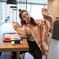 时尚立领PU皮衣外套女棒球服飞行夹克服 藕粉色