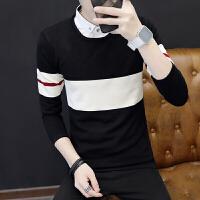 新款秋季男士衬衫领上衣服 潮男装毛衣小衫韩版假两件针织衫 黑色 M