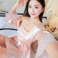睡裙女春秋韩版长袖甜美可爱睡袍两件套睡衣女夏冰丝绸性感吊带裙