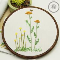 手工DIY布艺刺绣材料包小清新植物花卉简单小幅欧式刺绣手作套件