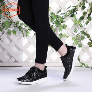 达芙妮旗下SHOEBOX/鞋柜女单鞋时尚亮片中跟单鞋圆头坡跟潮女鞋