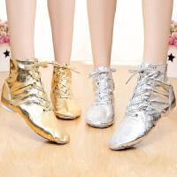 儿童爵士舞蹈鞋舞蹈鞋芭蕾练功鞋软底女式金银色pu亮革爵士鞋