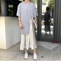 韩版时尚休闲套装夏装女装中长款开叉短袖T恤+压褶半身裙两件套潮 均码