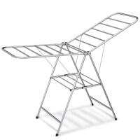 好太太晾衣架落地折叠不锈钢翼型晒衣架阳台移动简易晒被架 A银色 大