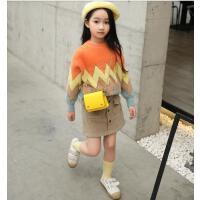 女童毛衣洋秋冬气童装上衣女大童套头长袖儿童针织衫