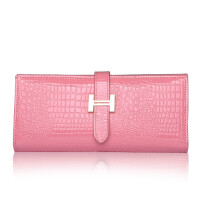 新款韩版H扣女士长款钱包女式大容量牛皮漆皮钱夹 粉色