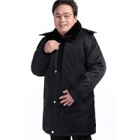 60-70岁80中老年人男装冬装棉衣中长款爷爷棉袄老人衣服加厚外套 黑色 内加绒毛